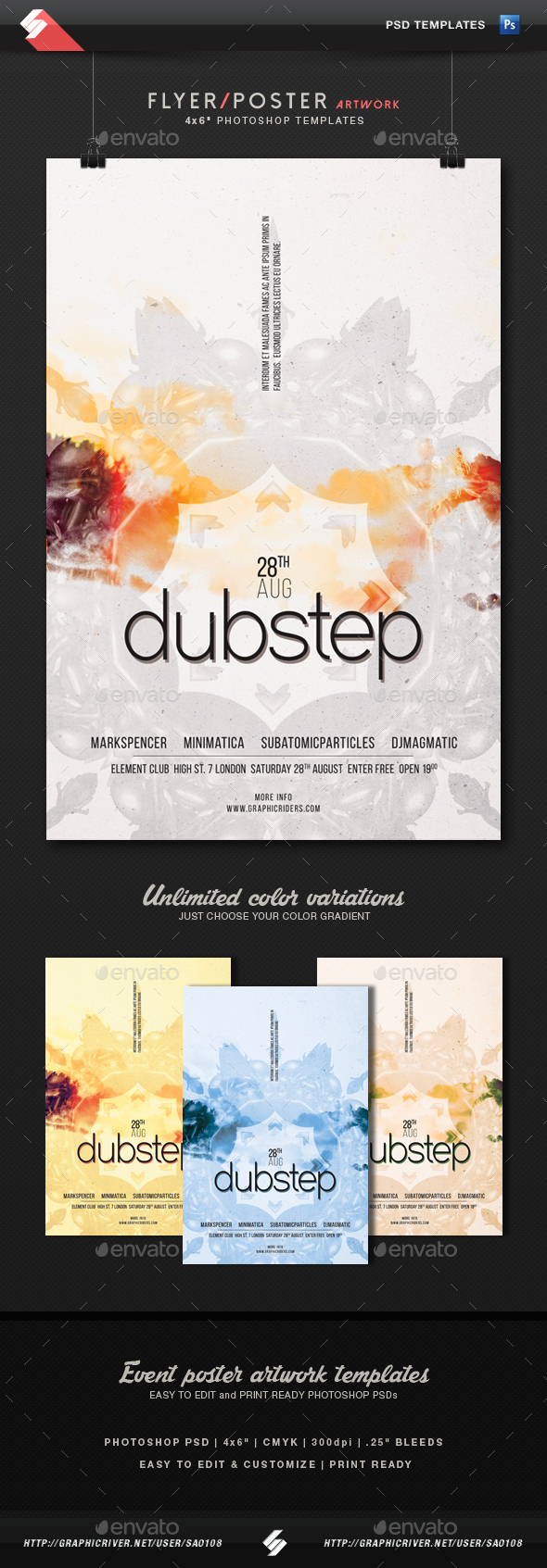 Dubstep vol.2 - Minimal Party Flyer Template - Clubs & Parties Events