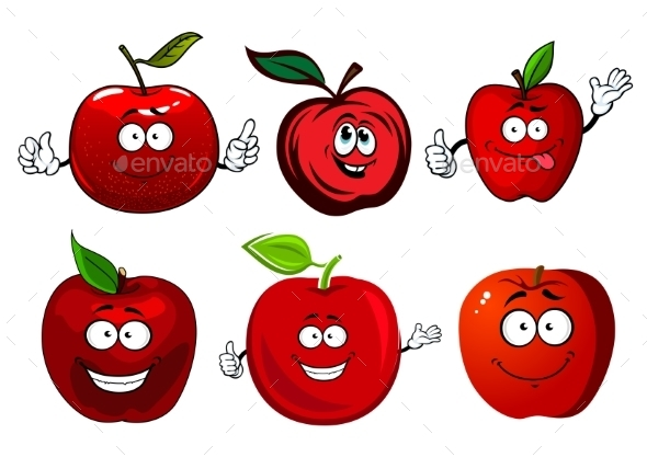 Cartoon Sweet Red Apple Fruit Characters - Food Objects