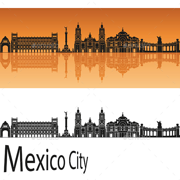 Mexico City  Skyline in Orange