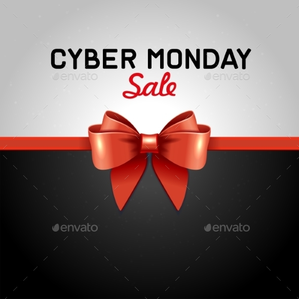 Cyber Monday Sale Design Poster With Ribbon And - Retail Commercial / Shopping
