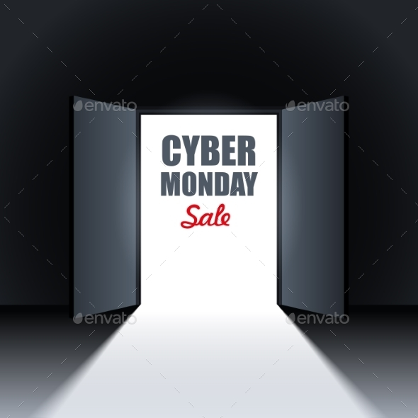 Cyber Monday Sale Background With Open Doors - Backgrounds Business