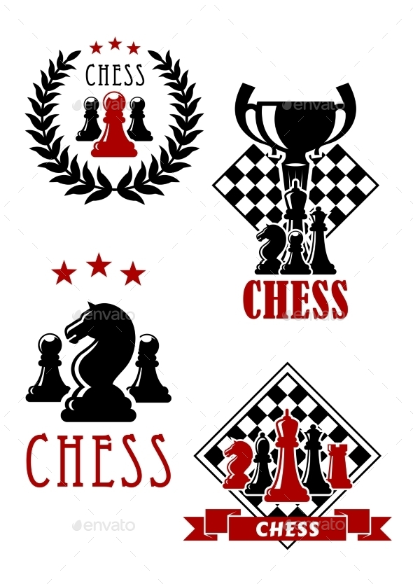 Chess Game Icons And Emblems - Sports/Activity Conceptual