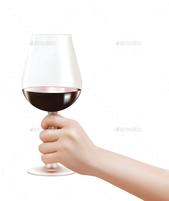 Hand Holding a Wine Glass - Food Objects