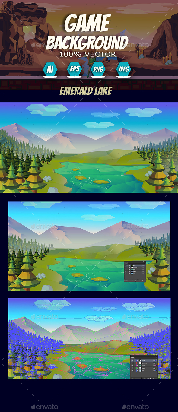 Fresh Game Background Emerald Lake - Backgrounds Game Assets