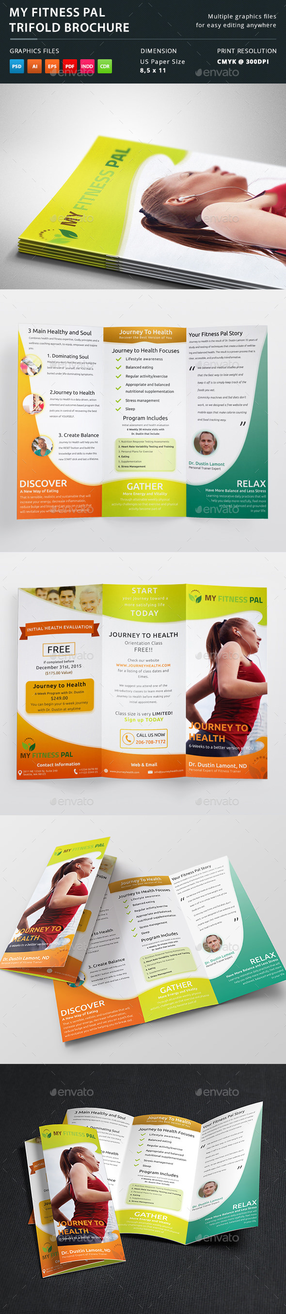 My Fitness Pal Trifold Brochure - Brochures Print Templates