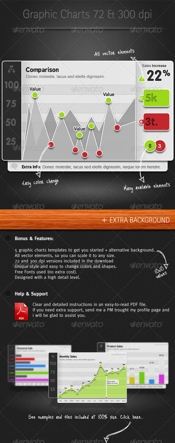 Graphic Charts Elements II - 72 & 300 DPI - Infographics
