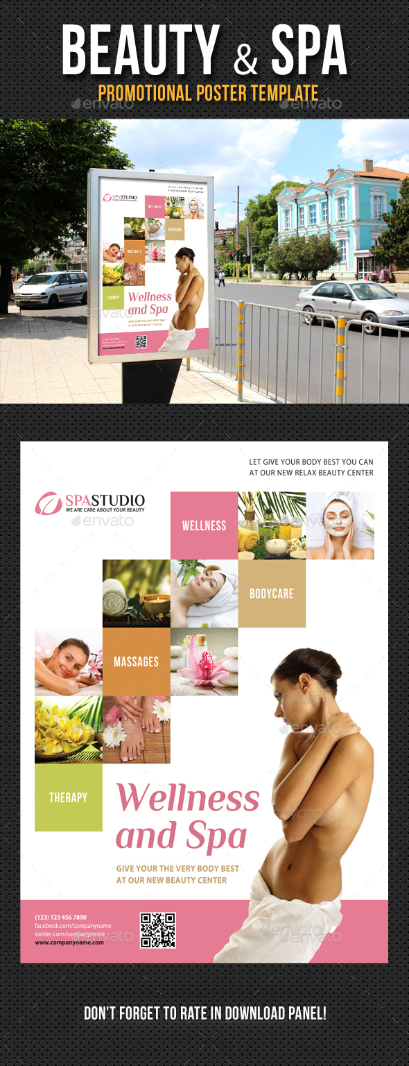 Beauty and Spa Poster Template V07 - Signage Print Templates