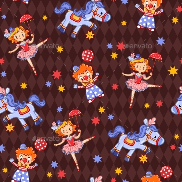Seamless Kids Circus Background Pattern In Vector. - Backgrounds Decorative
