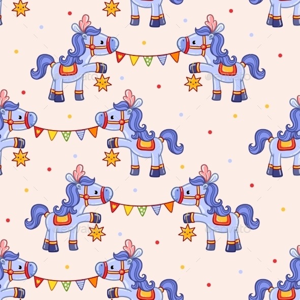 Funny Circus Pattern With Horses. - Backgrounds Decorative
