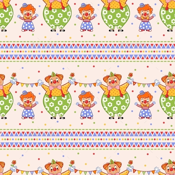 Seamless Pattern With Big And Small Clowns. - Backgrounds Decorative