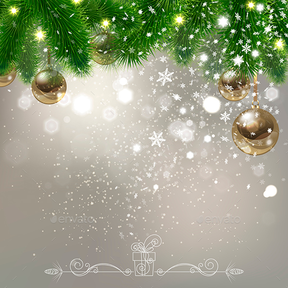 Christmas Background with Falling Snowflakes - Christmas Seasons/Holidays