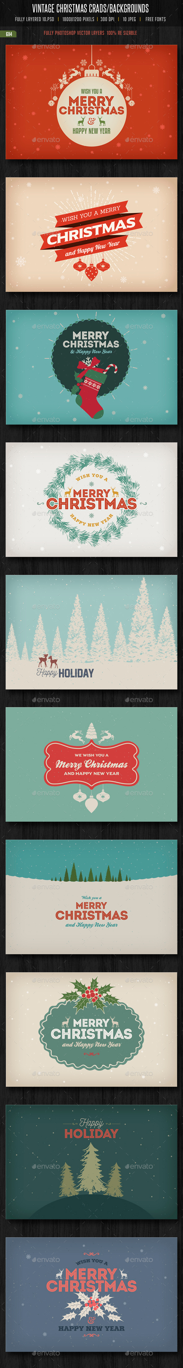 Vintage Christmas Cards/ Backgrounds - Backgrounds Graphics