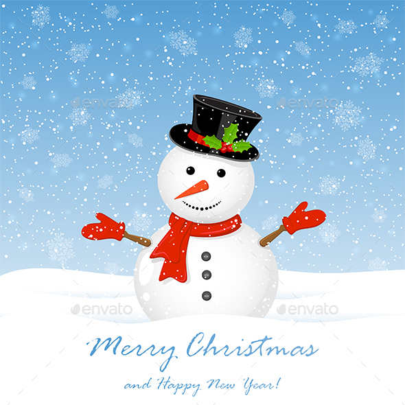 Snowman with Falling Snowflakes - Christmas Seasons/Holidays