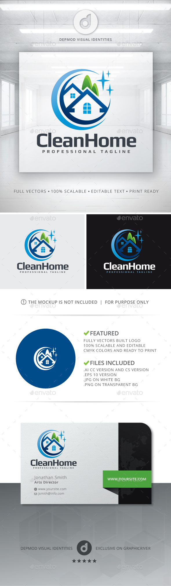Clean Home Logo - Buildings Logo Templates