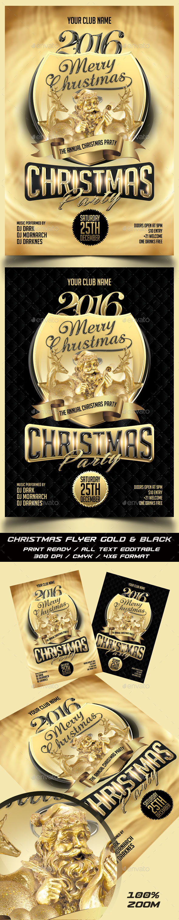 Christmas Gold & Black Party Flyer - Holidays Events