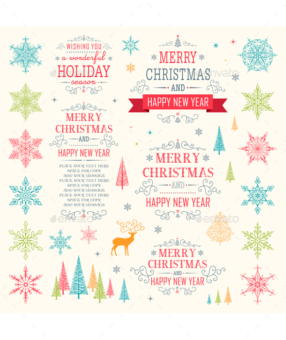 Christmas Winter Elements Vector Set - Christmas Seasons/Holidays