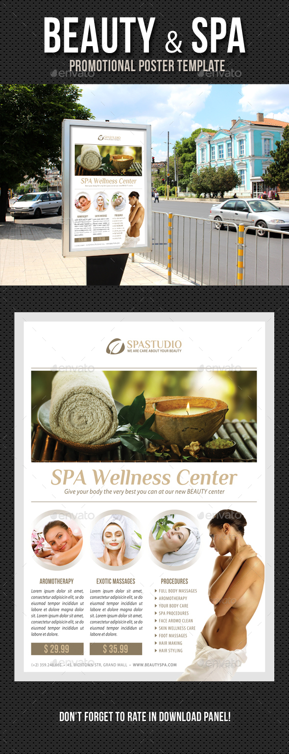 Beauty and Spa Poster Template V09 - Signage Print Templates