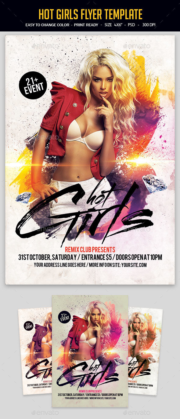 Hot Girls Flyer Template - Clubs & Parties Events