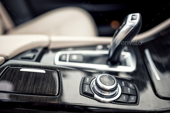 close-up details of automatic transmission and gear stick - Stock Photo - Images