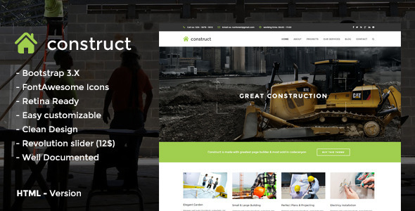 Construct – HTML5 Construction & Business Template