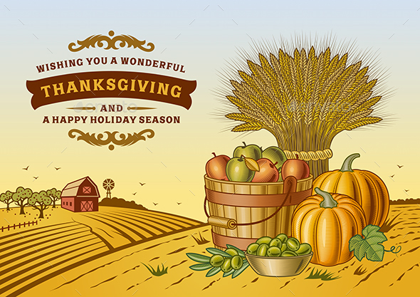 Vintage Thanksgiving Landscape - Miscellaneous Seasons/Holidays