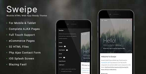 Sweipe - Mobile HTML Web App Ready Theme