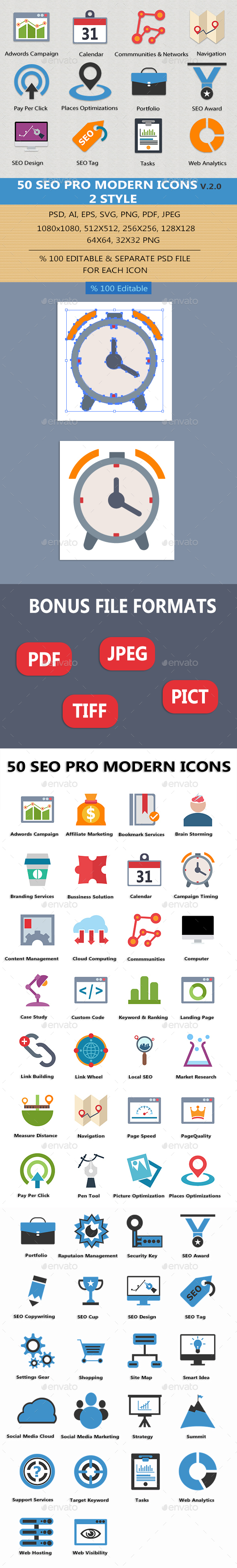 SEO Pro Modern Icons v2.0 - Business Icons