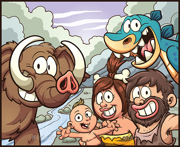 Caveman Family - People Characters