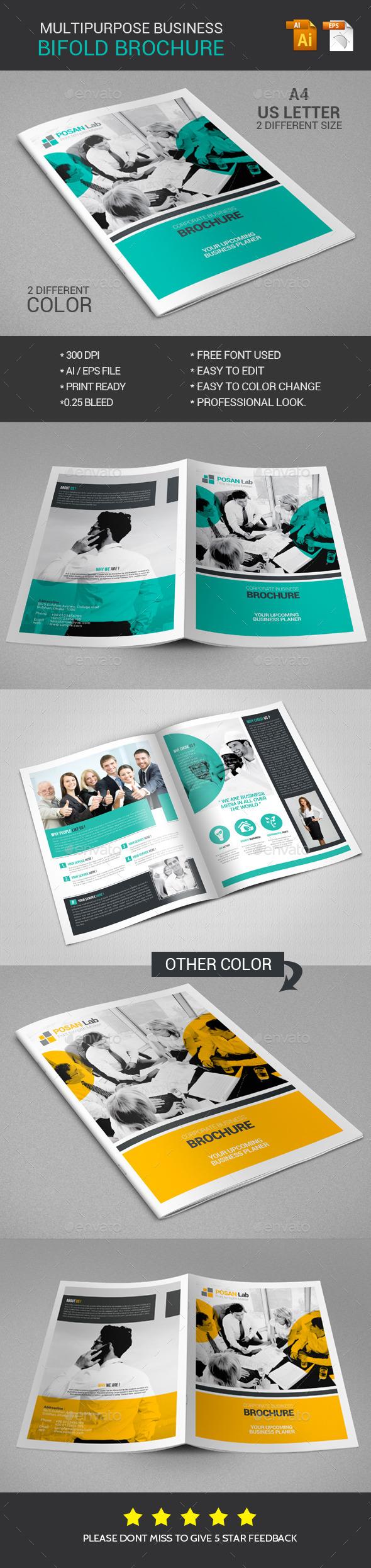Bifold Brochure Multipurpose Business - Brochures Print Templates
