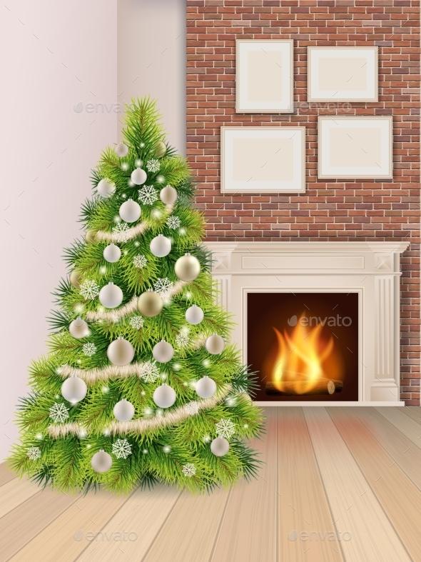 Christmas Interior with Fireplace - Christmas Seasons/Holidays
