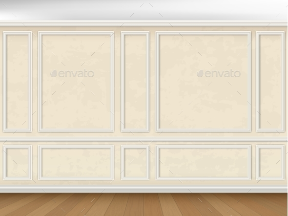 Wall Decorated Panel Mouldings in Classic Style - Buildings Objects