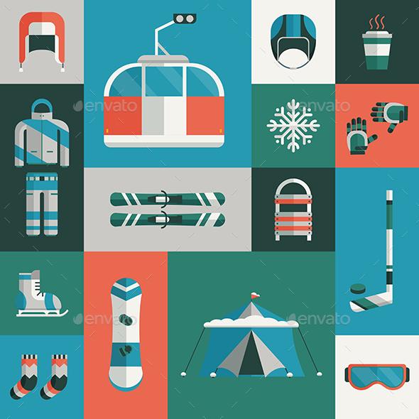 Winter Gear Icon Set - Sports/Activity Conceptual