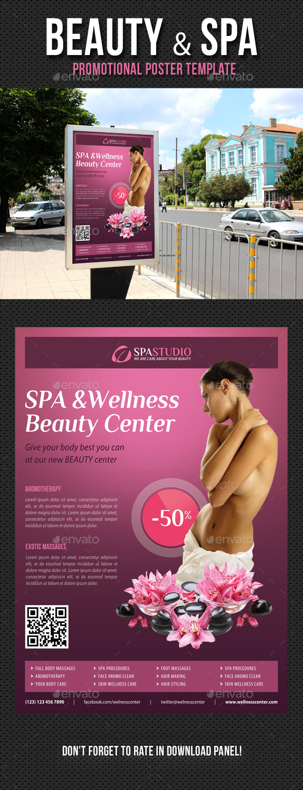 Beauty and Spa Poster Template V10 - Signage Print Templates