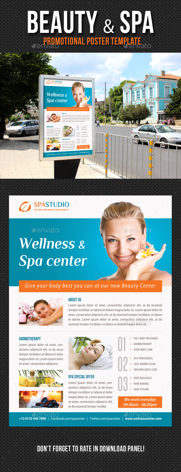 Beauty and Spa Poster Template V11 - Signage Print Templates