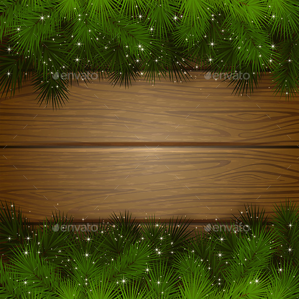 Christmas Background with Branches - Christmas Seasons/Holidays