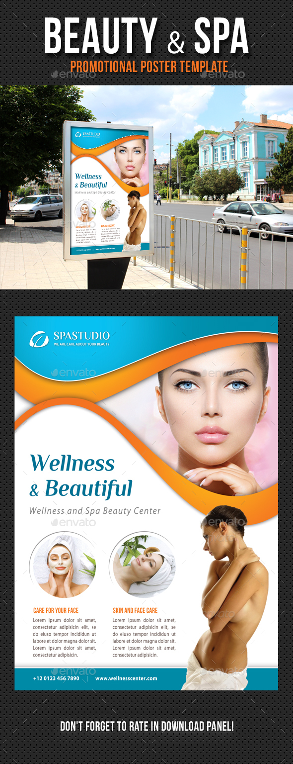 Beauty and Spa Poster Template V12 - Signage Print Templates