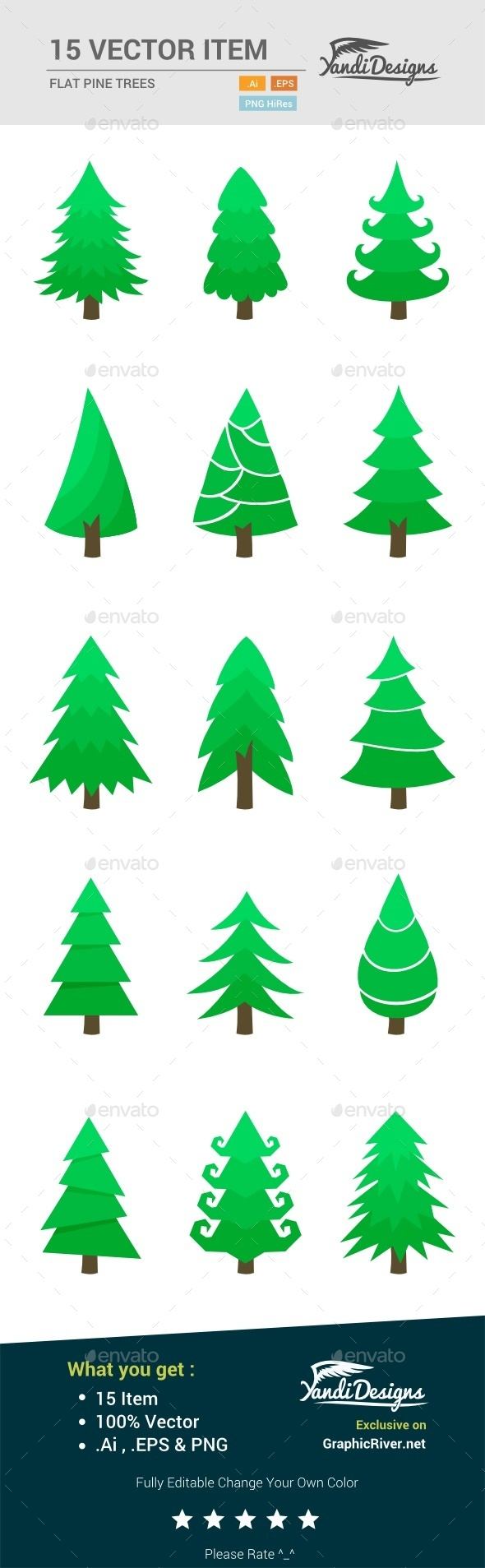 Flat Pine Trees - Nature Conceptual