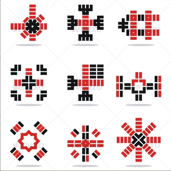 set of vector abstract icons - Abstract Icons