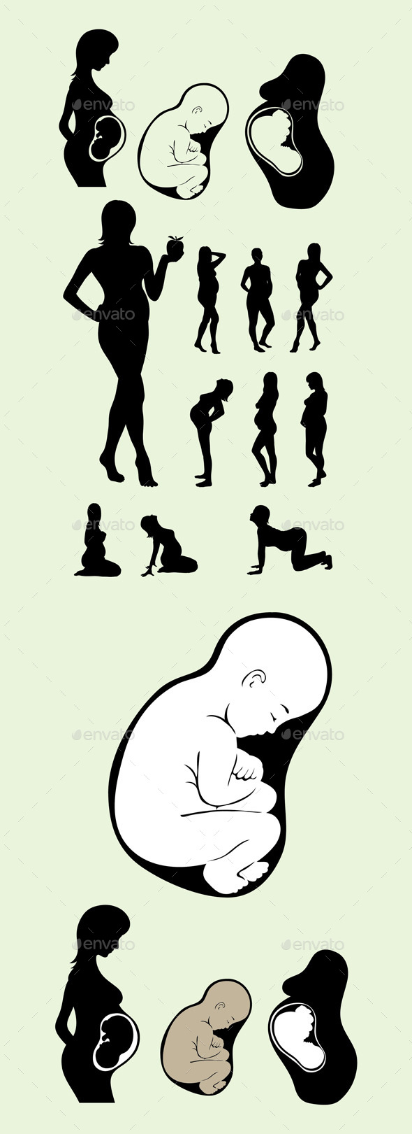 Silhouette of Pregnant Woman with Baby Inside - People Characters