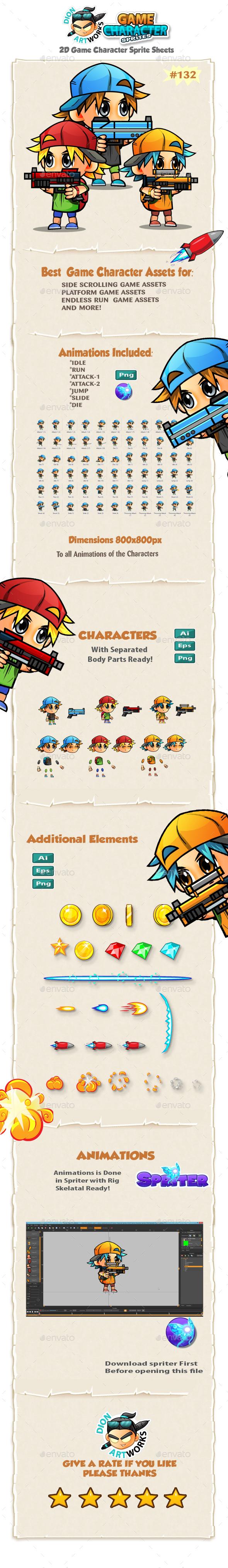 2D Game Character Sprites 132 - Sprites Game Assets
