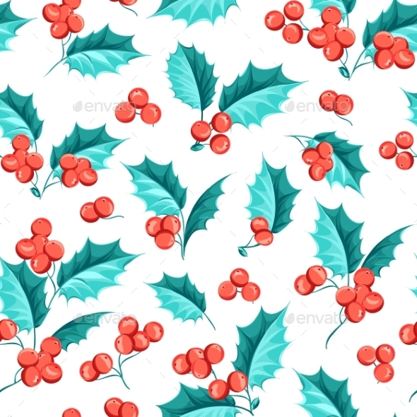 Mistletoe Seamless Pattern. - Christmas Seasons/Holidays