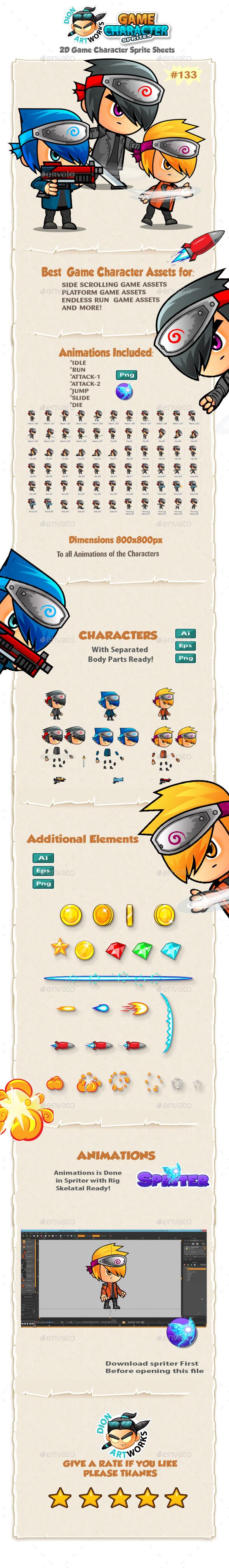 Ninja Hunters-2D Game Character Sprites 133 - Sprites Game Assets