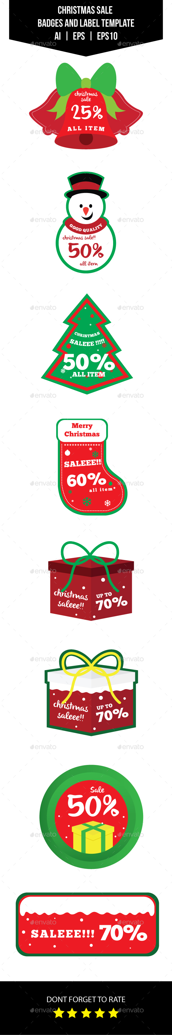 Christmas Sale Badges and Label Template - Badges & Stickers Web Elements
