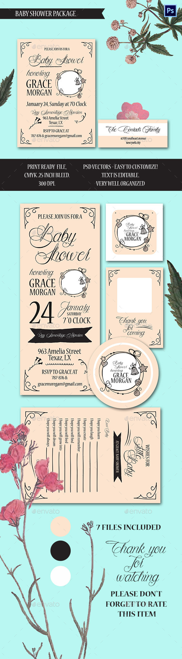 Baby Shower Invitation Package - Cards & Invites Print Templates