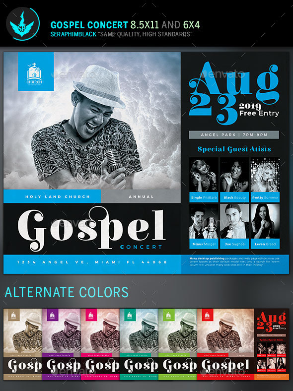 Gospel Concert Flyer Template - Church Flyers