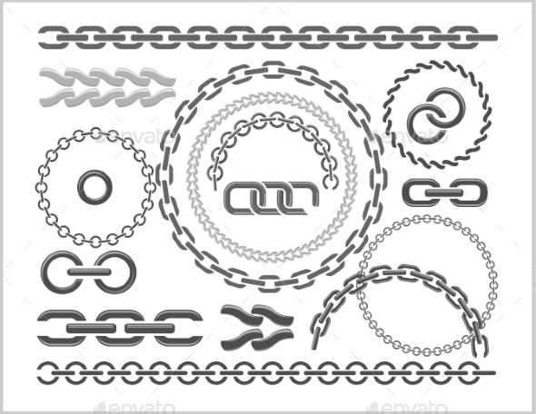 Chains Set - Icons, Parts, Circles Of Chains. - Web Technology