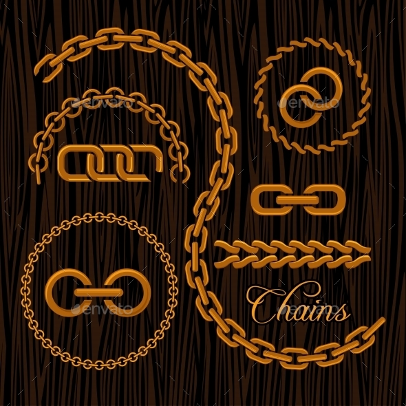Golden Chains On a Dark Background. - Decorative Symbols Decorative