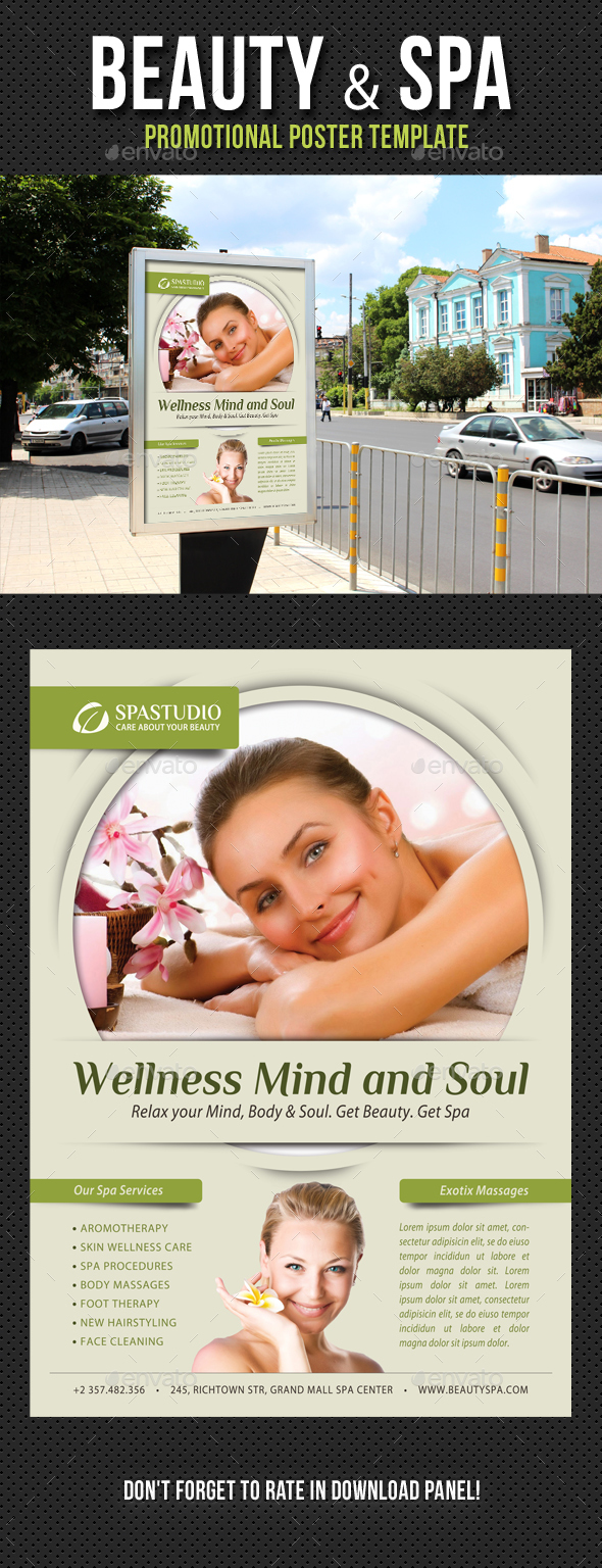 Beauty and Spa Poster Template V13 - Signage Print Templates