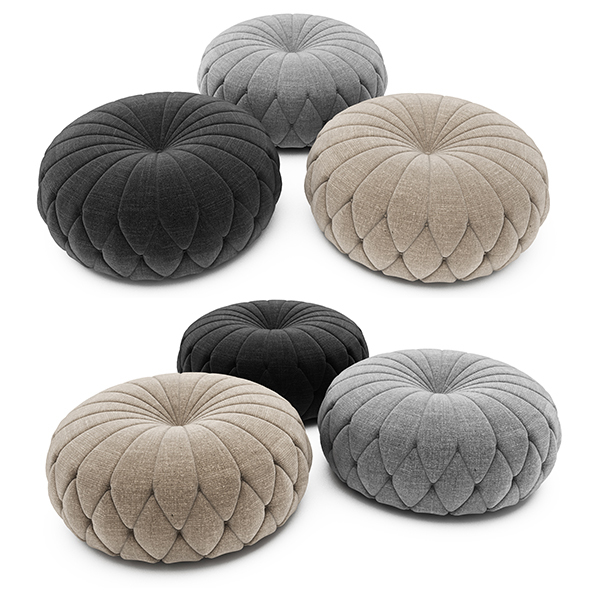 Tufted Round Ottoman - 3DOcean Item for Sale