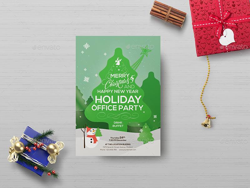 Office Holiday Party  Flyer Template By Wutip  Graphicriver